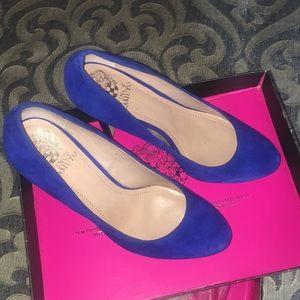 Vince Canute blue suede platform heels